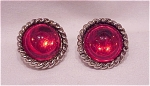 Vintage Costume Jewelry - Silver Tone Clip Earrings With Red Lucite Cabachons