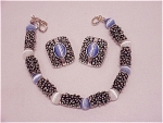 Costume Jewelry - Premier Designs Faux Moonstone Bead In Silver Tone Bracelet & Clip Earrings