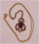 Costume Jewelry - Faux Amethyst & Pearl Pendant Necklace Signed Avon