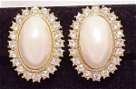 Costume Jewelry - Large Faux Mabe' Pearl & Brilliant Clear Rhinestone Clip Earrings