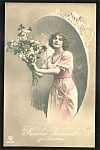Actress With Flowers 1915 German Postcard