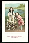 Children Daisies & Wagon Postcard 1910