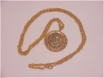 Costume Jewelry - Christopher Columbus 500th Anniversary Gold Tone Medal Necklace