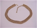 Vintage Costume Jewelry - Gold Tone 4 Strand Snake Chain Choker Necklace