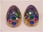 Vintage Costume Jewelry - Gold Tone, Enamel & Pink, Blue, Green Rhinestone Clip Earrings
