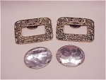 Costume Jewelry - 2 Pairs Of Shoe Clips - Antiqued Gold Filigree, Silver Rs