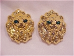 Costume Jewelry - Cindy Adams Large Gold Tone Lion Head Clip Earrings