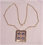 Costume Jewelry - Modern Gold & Silver Tone Pendant Necklace Signed Artistry