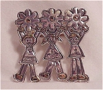 Possible Sterling Silver Children & Flowers Brooch Signed Mj