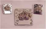 Costume Jewelry - Two Tone Snowmen Brooch & Pierced Earrings Signed Best