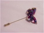 Vintage Costume Jewelry - Enamel On Copper Butterly Stickpin Stick Pin