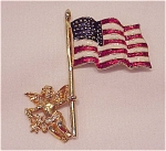 Costume Jewelry - Enamel American Flag & Cherub Angel Patriotic Brooch