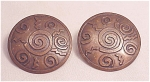 Costume Jewelry - Copper Pierced Earrings With Stamped Designs Signed Chico's