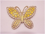 Costume Jewelry - Yellow Enamel On Gold Tone Butterfly Brooch Signed Jj