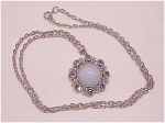 Vintage Costume Jewelry - Silver Tone Necklace With Blue Faux Moonstone And Rhinestone Pendant