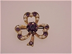 Antique Jewelry - 10k Gold Clover Brooch With Amethysts And Seed Pearls