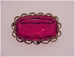 Antique Large Ruby Red Glass Brooch Signed Western Germany