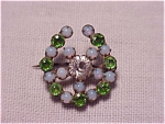 Antique Jewelry - Victorian Or Edwardian Opal & Green Rhinestone C Clasp Pin