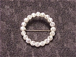 Antique Victorian C Clasp Rhinestone Circle Brooch