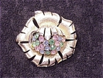 Vintage Signed Coro Gold Matte Flower Brooch With Pastel Rhinestones