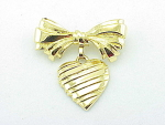 Vintage Costume Jewelry - Avon I Love You Mother Dangling Heart And Bow Brooch