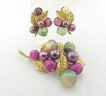 Vintage Costume Jewelry - Art Brooch & Clip Earrings Demi Parure Set