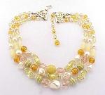 Vintage Costume Jewelry - Japan 3 Strand Foil & Art Glass Bead Choker Necklace