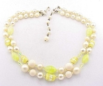 Vintage Costume Jewelry - Japan Yellow Foil Art Glass Bead Necklace