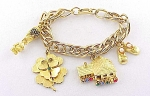 Vintage Costume Jewelry - Hobco Gold Tone & Rhinestone Charm Bracelet