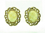 Vintage Costume Jewelry - Florenza Hard Stone Or Shell Cameo Clip Earrings