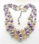 Vintage Costume Jewelry - Japan 3 Strand Iridescent Glass Bead & Pearl Necklace