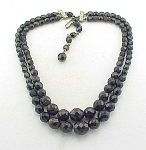 Vintage Costume Jewelry - Laguna Black Faceted Glass Bead Choker Necklace