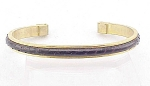 Costume Jewelry - Gold Tone Salamander Leather Cuff Bracelet Marked Italy