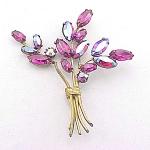 Vintage Costume Jewelry - Regency Pink Aurora Borealis Rhinestone Brooch