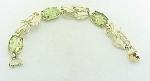 Vintage Costume Jewelry - Emmons Carved Green Glass, Rhinestone & Enamel Bracelet