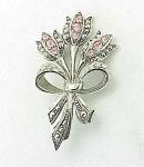 Costume Jewelry - Avon Art Nouveau Style Pink Rhinestone Flowers Brooch