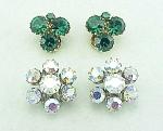 Vintage Costume Jewelry - 2 Pairs Of Weiss Rhinestone Clip Earrings