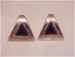 Sterling Silver And Black Onyx Pierced Earrings