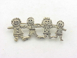Costume Jewelry - Sterling Silver Brooch Of 4 Children Or Dolls Holding Hands