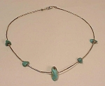 Native American Liquid Silver & Turquoise Nugget Necklace