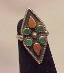 Native American Turquoise & Coral In Sterling Silver Ring