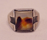 Native American Sterling Silver & Agate Ring Signed Wm Or Fm Or Tm
