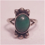 Native American Or Mexican Sterling Silver & Malachite Ring