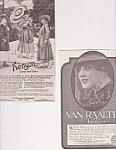 2 Vintage Womens Clothing Ads, 1916, Kenyon Coats & Suits, Van Raalte Veils