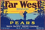 """far West Brand Pears"" Fruit Crate Label"