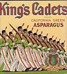 King's Cadets Brand California Green Asparagus Fruit Crate Label