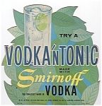 1957 Smirnoff Vodka 'n Tonic Diecut Advertising Bar Sign / Standee