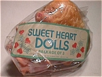 Package Of 3 Dime Store Sweet Heart Dolls, 1970s