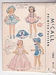 "1950 Mary Hoyer Doll 14"" Wardrobe Pattern Mccall #1564"