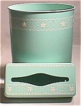 1950s Turquoise Toleware Waste Can & Tissue Box Set